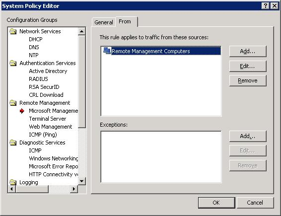 ISA Page 17 System Policy Remote Management
