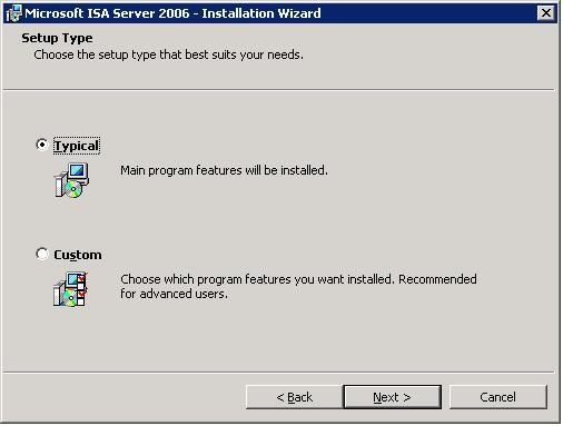 ISA Page 5 Choose Installation Type