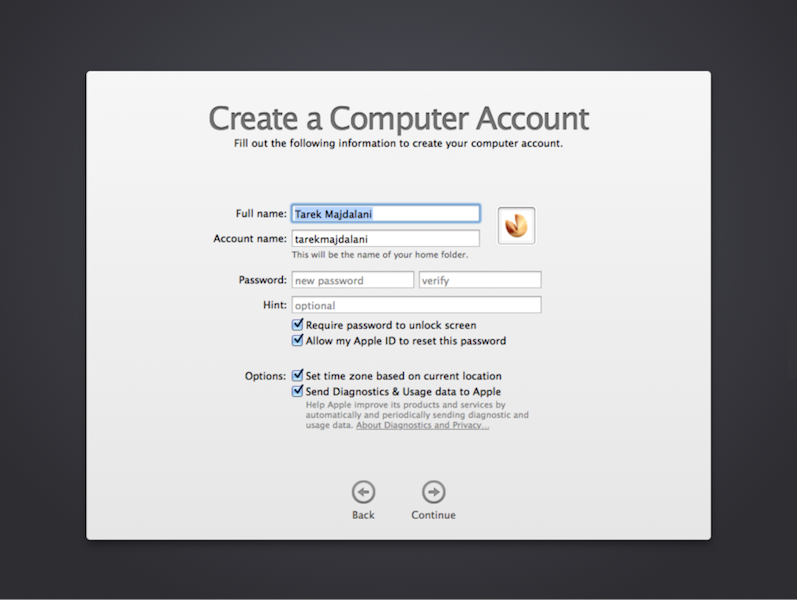 how to add an account to a mac from installer