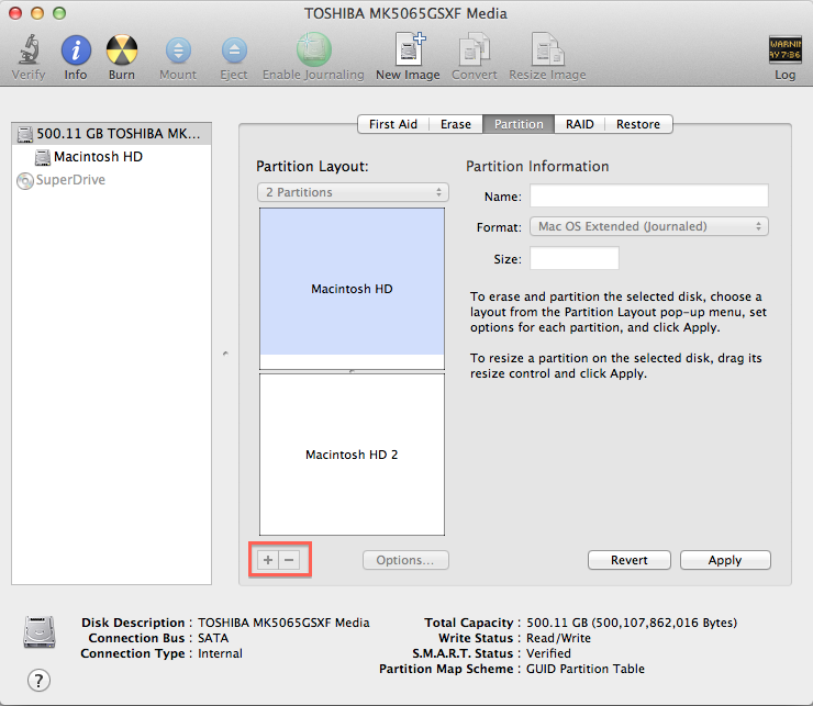 how to create partition on a mac