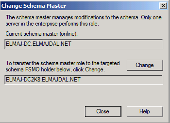 Using Active Directory Schema snap-in to transfer the Schema Master role.