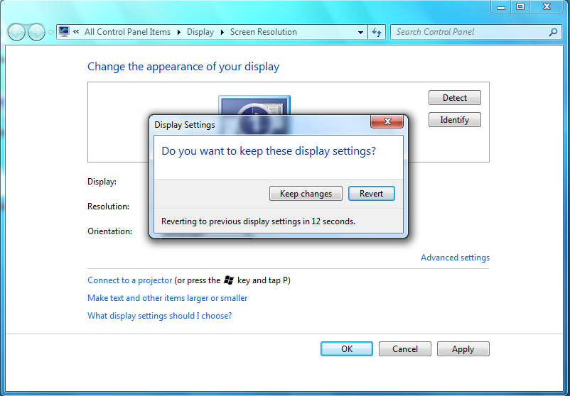 Changing Screen Resolution in Windows 7