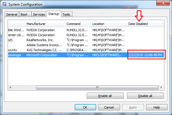 Disable and Enable Windows 7 Startup Programs