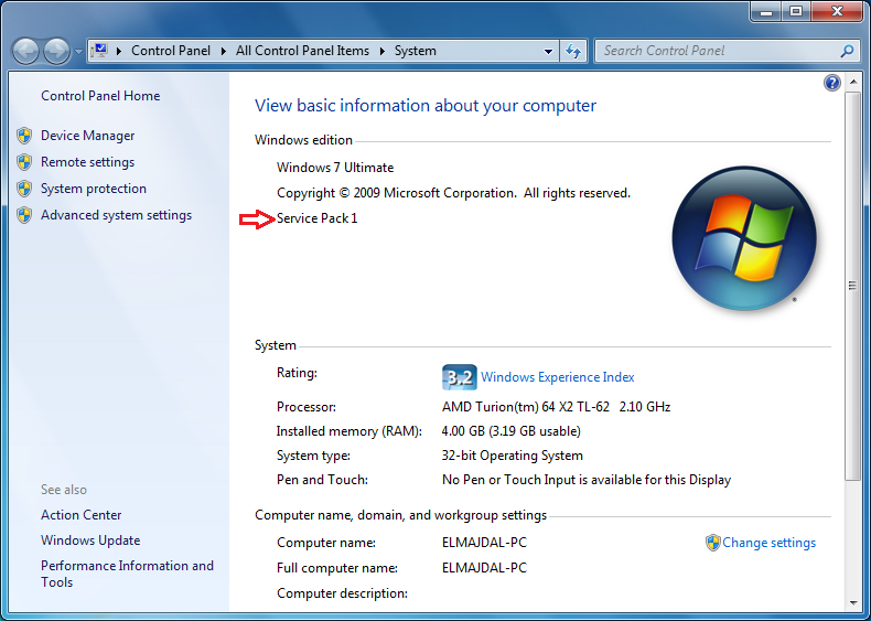 Windows 7 how to check if service pack 1 is installed for Window 7 service pack 1