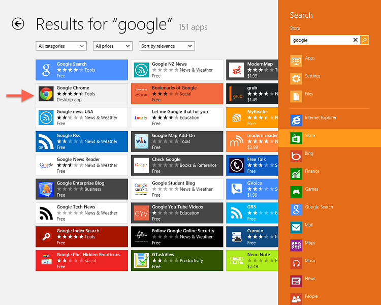 How to download and install google search and chrome in windows 8