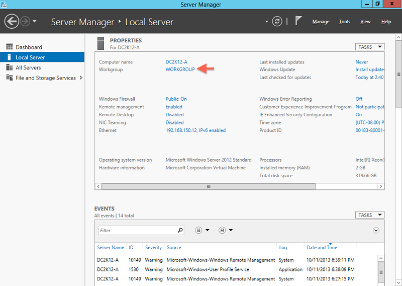 change network from public to domain 2012