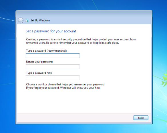 How to create a password for a user account in windows 7 for How to design windows