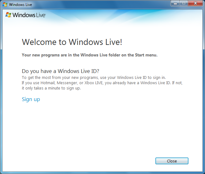 windows messenger live id:
